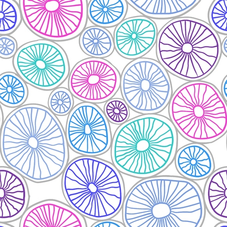 Vector seamless pattern. Colorful organic rounds. Stylish structure of natural cells. Hand drawn abstract background.