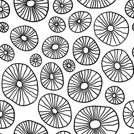 Monochrome organic rounds. Handdrawn abstract background with cells. Stock Photo