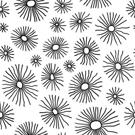 Monochrome organic radial cells. Vector seamless pattern