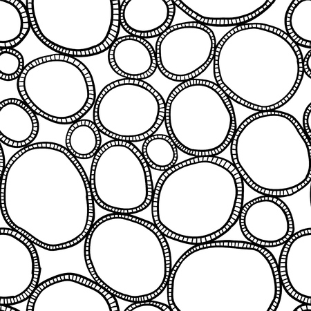 Vector seamless pattern. Monochrome organic rounds. Stylish structure of natural cells. Hand drawn abstract background. Illustration
