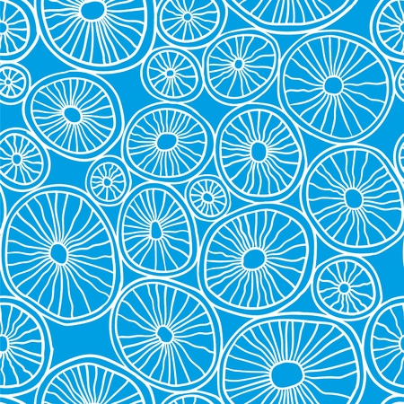 Vector seamless pattern. Blue organic rounds. Stylish structure of natural cells. Hand drawn abstract background.