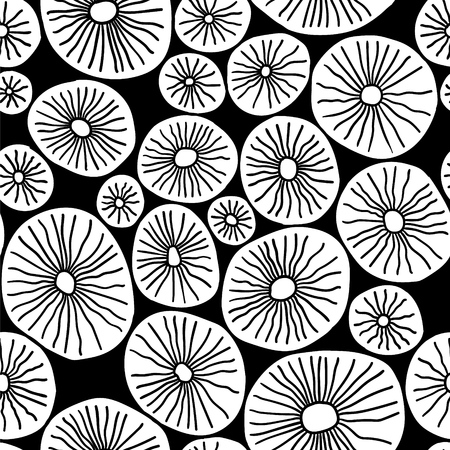 Monochrome organic rounds. Stylish structure of natural cells. Hand drawn abstract background.