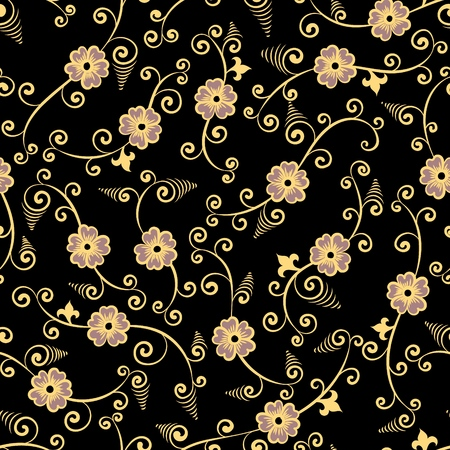 gold on black chinese floral seamless pattern