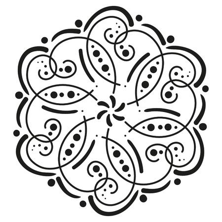 black and white round pattern. hexagonal tile Illustration