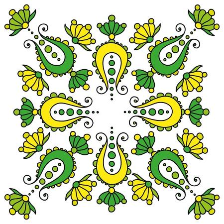 colorful hand drawn mandala. paisley on white