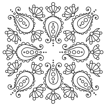 black and white handdrawn mandala, tattoo design Illusztráció