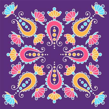 hand drawn mandala with paisley on violet Illustration
