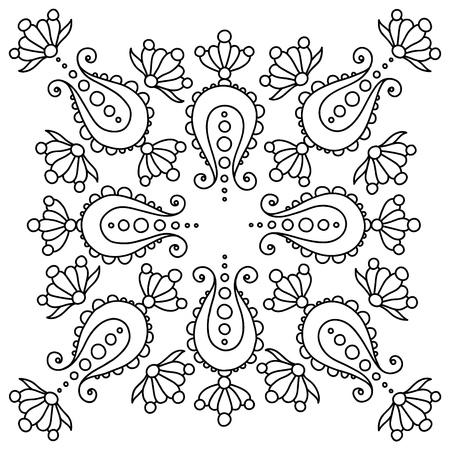 black and white handdrawn mandala with paisley, tattoo design Ilustração