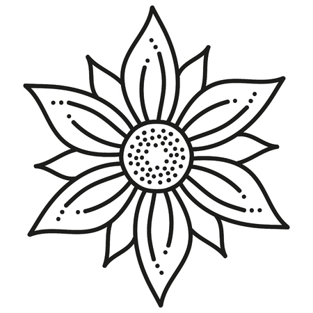black and white round symmetrical pattern. fancy mandala. hexagonal tile  イラスト・ベクター素材