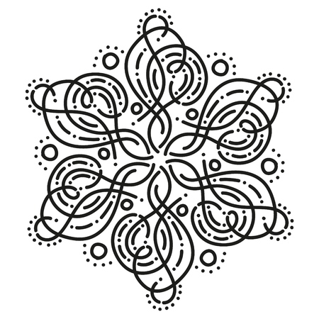 black and white round symmetrical pattern. fancy mandala. hexagonal tile