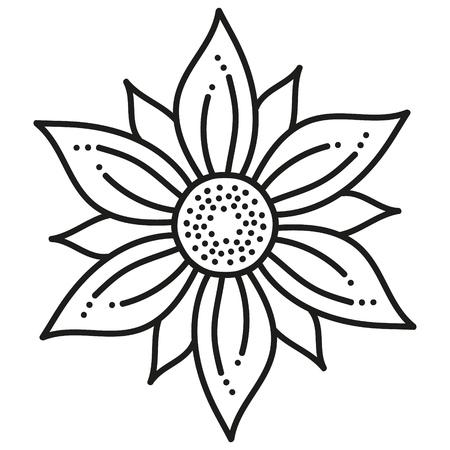 black and white round symmetrical hexagonal flower