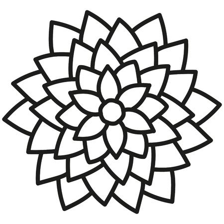 black and white round symmetrical astra flower Illustration