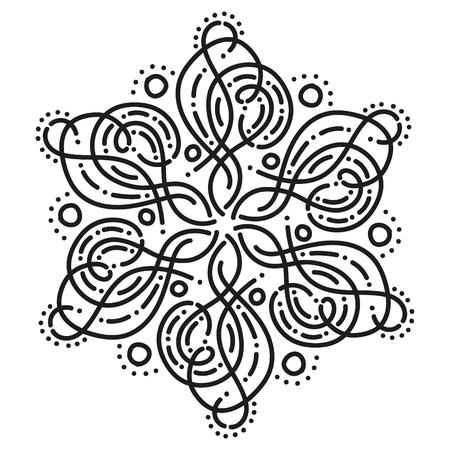 black and white round symmetrical fancy pattern Illustration