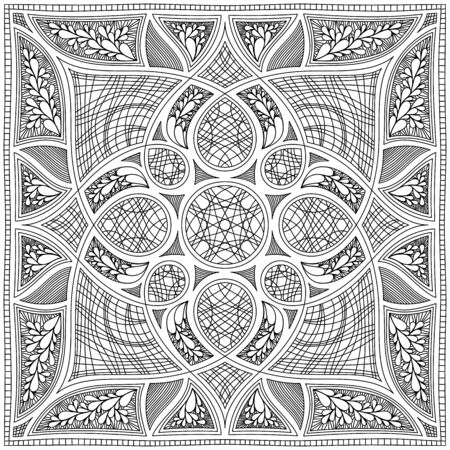 black and white symmetrical square arabesque. textile design