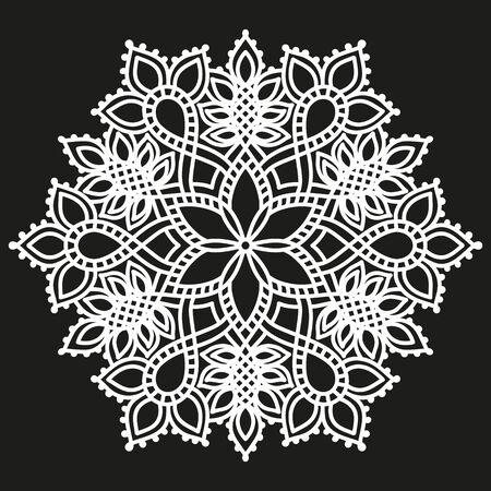 white round symmetrical pattern on black. fancy decorative mandala