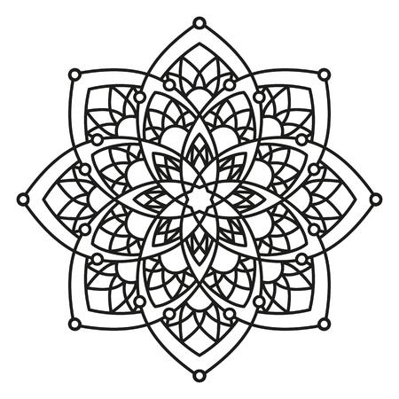 black and white round symmetrical arabesque design. decorative mandala