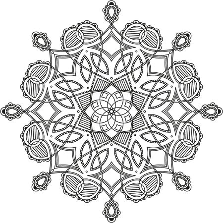 black and white round symmetrical pattern. fancy decorative mandala Vetores