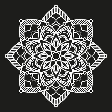 white round symmetrical pattern on black. arabesque design. fancy decorative mandala Illustration