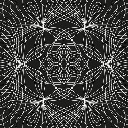 white round symmetrical pattern on black. decorative mandala  イラスト・ベクター素材