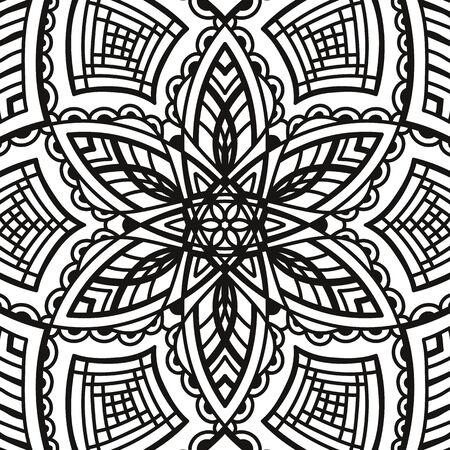 black and white round symmetrical arabesque design. fancy decorative mandala