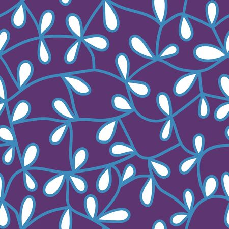 abstract floral seamless pattern. blue lines and whit petals on violet. testile design