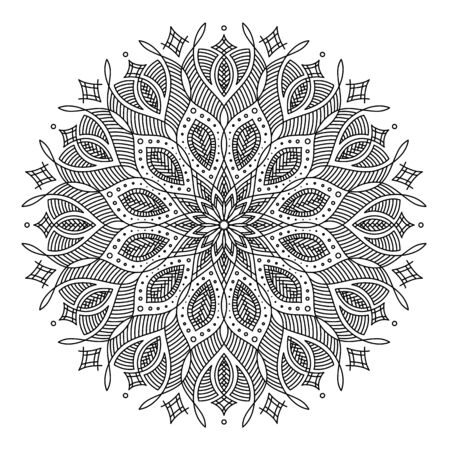 black and white round symmetrical vector artwork. mandala pattern. perfect elegant invitation card design