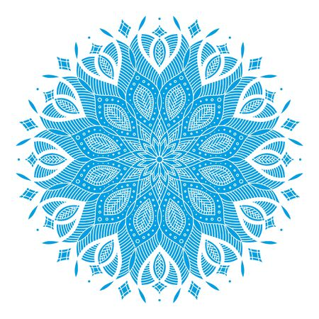 blue and white round symmetrical vector artwork. mandala pattern