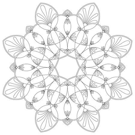 black and white round symmetrical vector artwork