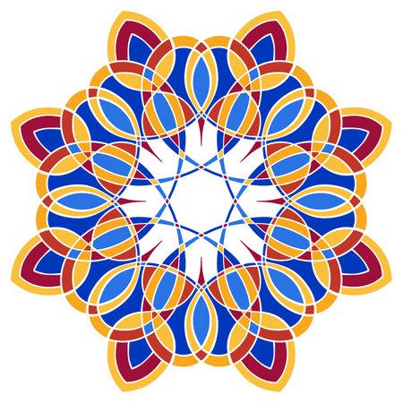 colorful symmetrical vector artwork. round mandala pattern  イラスト・ベクター素材