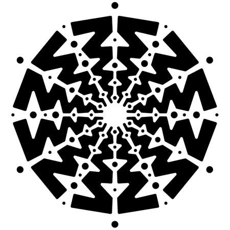 black and white round symmetrical vector artwork. mandala pattern  イラスト・ベクター素材