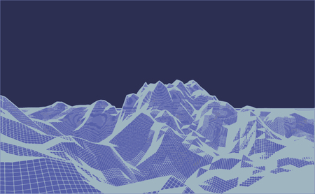 complex navigation: Digital landscape 3d technology illustration for presentations and polygraphy products