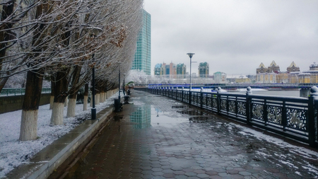 Ishim river in winter morning.