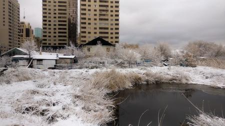 Winter lake landscape in Astana city. Kazakhstan