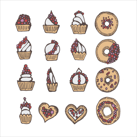 Vector set of pastries. Illustration