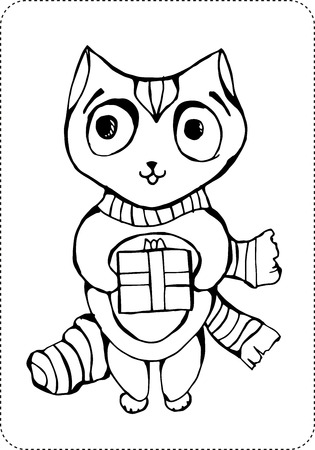 Christmas cat coloring page on white background illustration. Vettoriali
