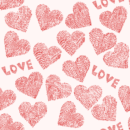 seamless doodle pattern. broken heart. illustration
