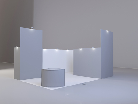 Exhibition stand, 3D rendering visualization of exhibition equipment, Advertising space on a white background