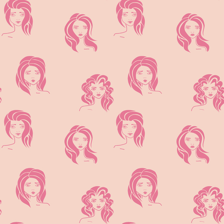 Women - hand drawn seamless pattern of a crowd of different women Vector illustration.
