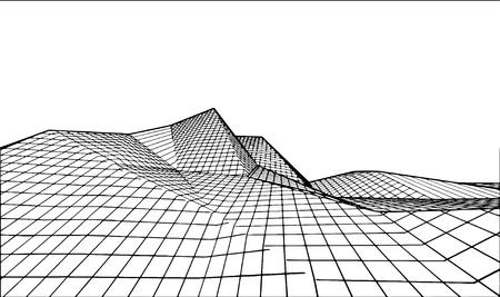 Abstract landscape. Vector outline illustration background.