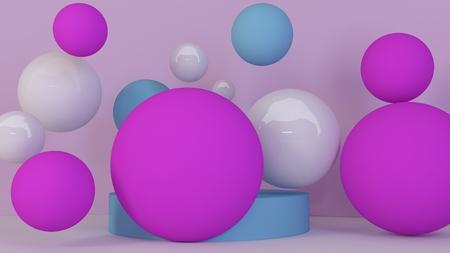 Spheres background. Abstract wallpaper. Flying geometric shapes. Trendy modern illustration. 3d rendering.
