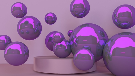 3d realistic corner wall abstract scene with podium and balls, for product presentations. Stock Photo