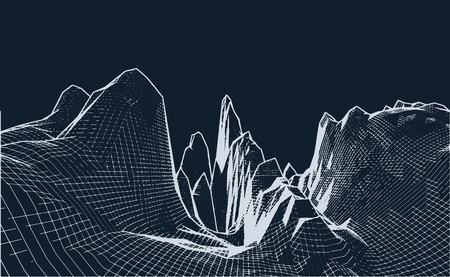 Abstract wireframe landscape background. Wireframe landscape mountains. Abstract vector background for presentations. Network cyber technology. Futuristic 3D cartography.