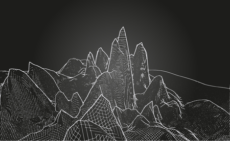 Abstract 3d wireframe landscape grid with text on black background. Vector illustration