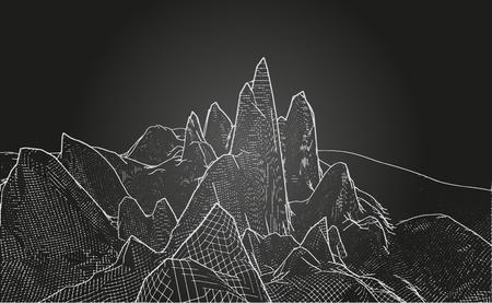 Abstraktes 3D-Drahtgitter-Landschaftsgitter mit Text auf schwarzem Hintergrund. Vektorillustration