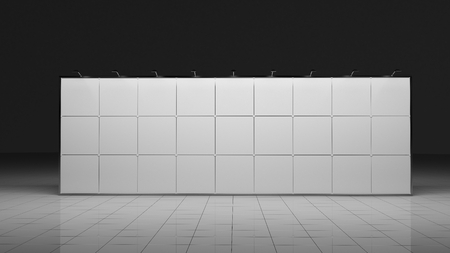 3d render banner. 12x3 meters. Template for your deisgn. Blank. Mock up