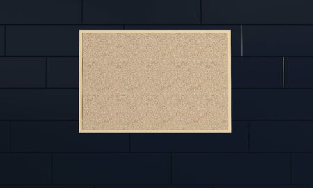 Empty cork board, noticeboard on wall. Mockup template - 3D rendering design Stockfoto