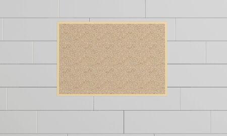 Empty cork board, noticeboard on wall. Mockup template - 3D rendering design Zdjęcie Seryjne