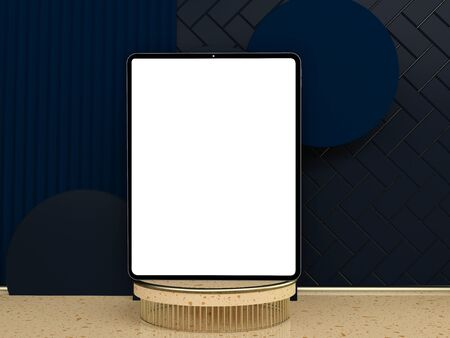 3D rendering of blank photo or picture frame in front of blue wall as template or mockup with shape decoration in room at home with copy space. Abstract Stock fotó