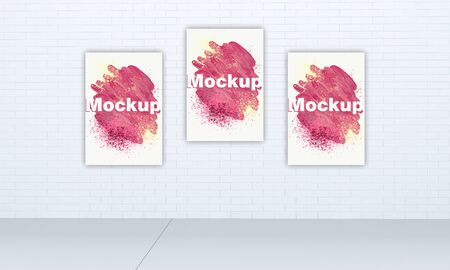 Three vertical metal posters on a brick wall. 3D illustration
