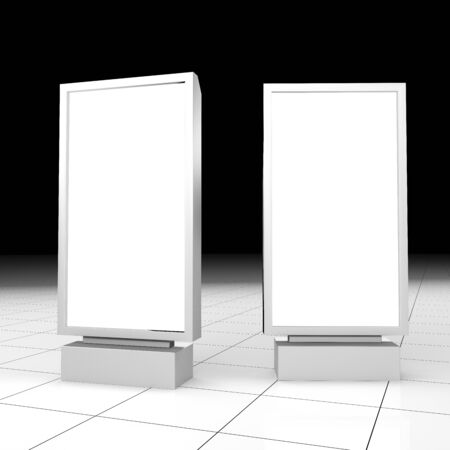 Set of Outdoor white light box city light advertising stand, isolated on white